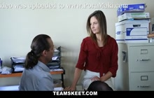 Enticing virgin office girl Shyla Ryder gets anally fucked by her boss at the office after her boyfriend decided to break up on her.