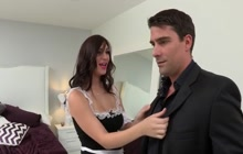 Naughty maid Holly Michaels receives hard dick